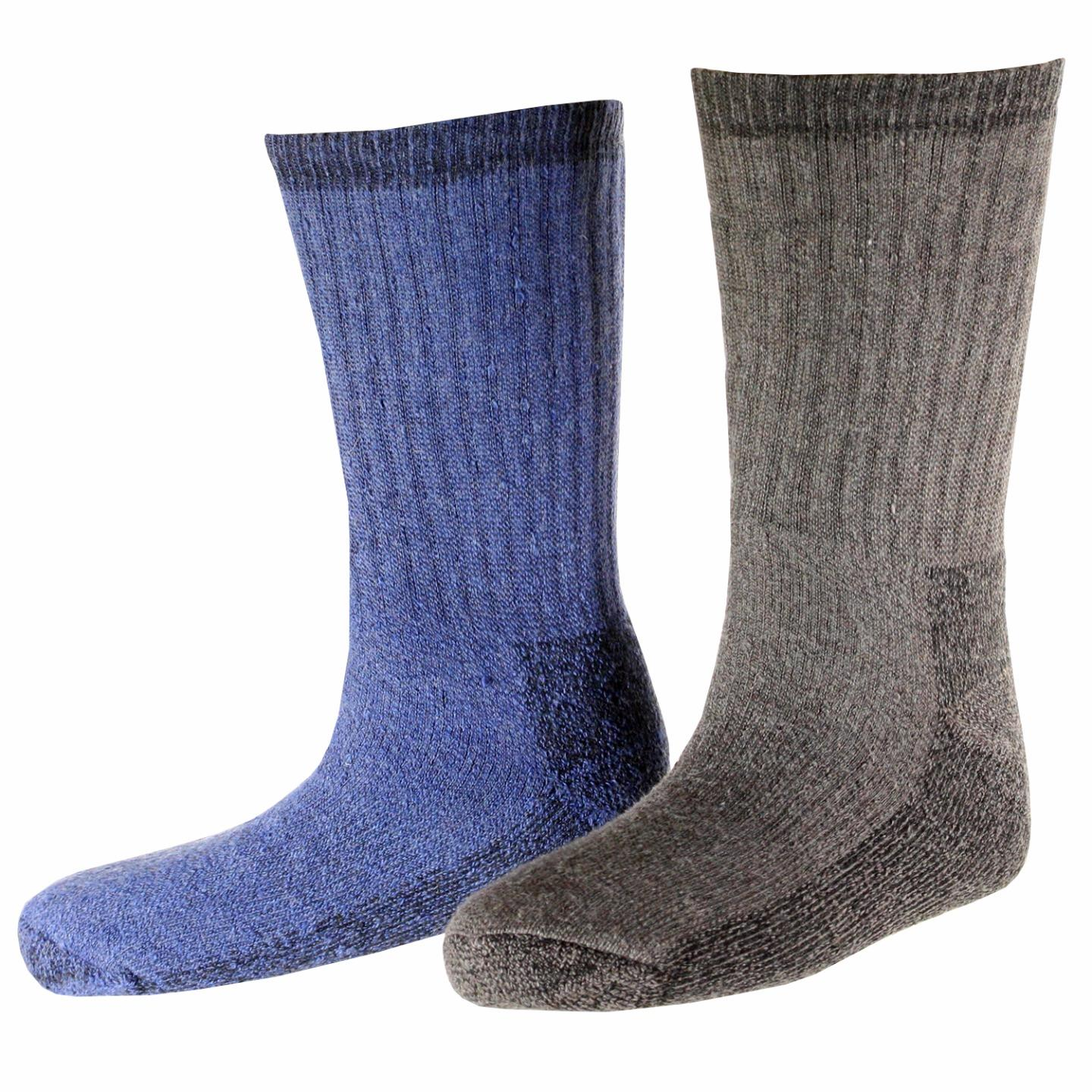 Woolrich Men's Ultimate Merino Wool Extreme Cold Socks 2pk Taupe & Denim Large