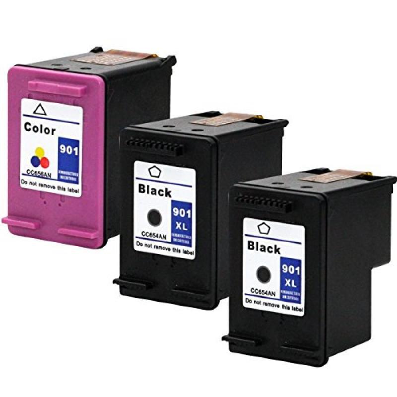 YATUNINK Remanufactured Ink Carts 3 Multipack 901 XL 2Bla...