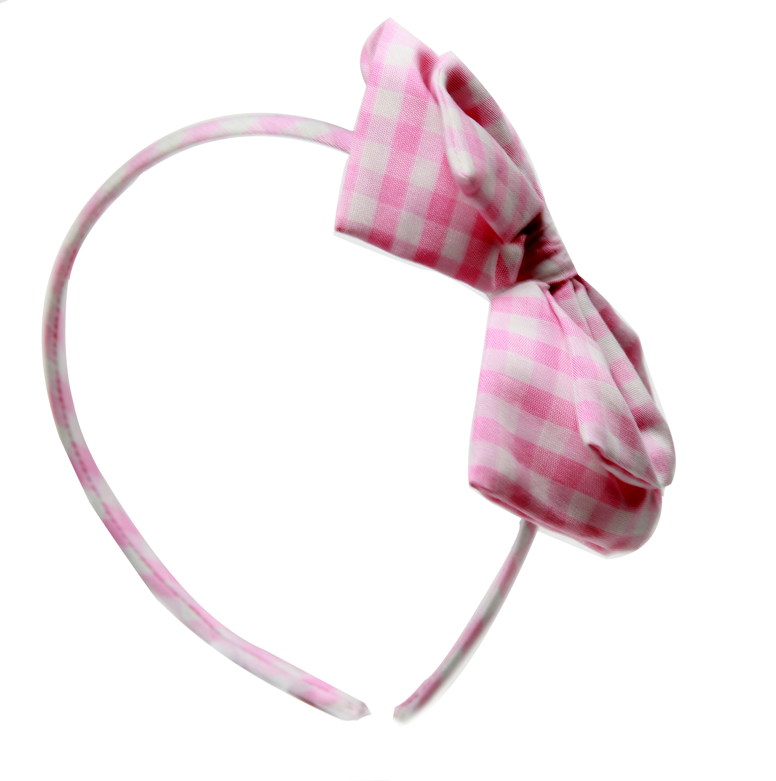 Girls' Pink Gingham Headband with Bow RH0325