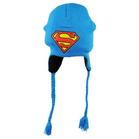 4a8e9a7b8ca DC Comics Superman Peruvian Tassel Blue Leather Logo Knit Beanie Super Hero  Hat - Walmart.com