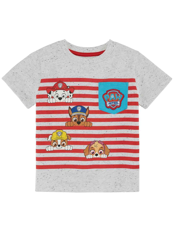Toddler Boys Red Stripe Paw Patrol Puppy Dog T-Shirt Chase Tee Shirt