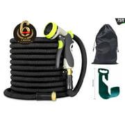 Heavy Duty Expandable Garden Hose /Brass Connector/Spray Nozzle/Bag/Hanger/Black 75FT