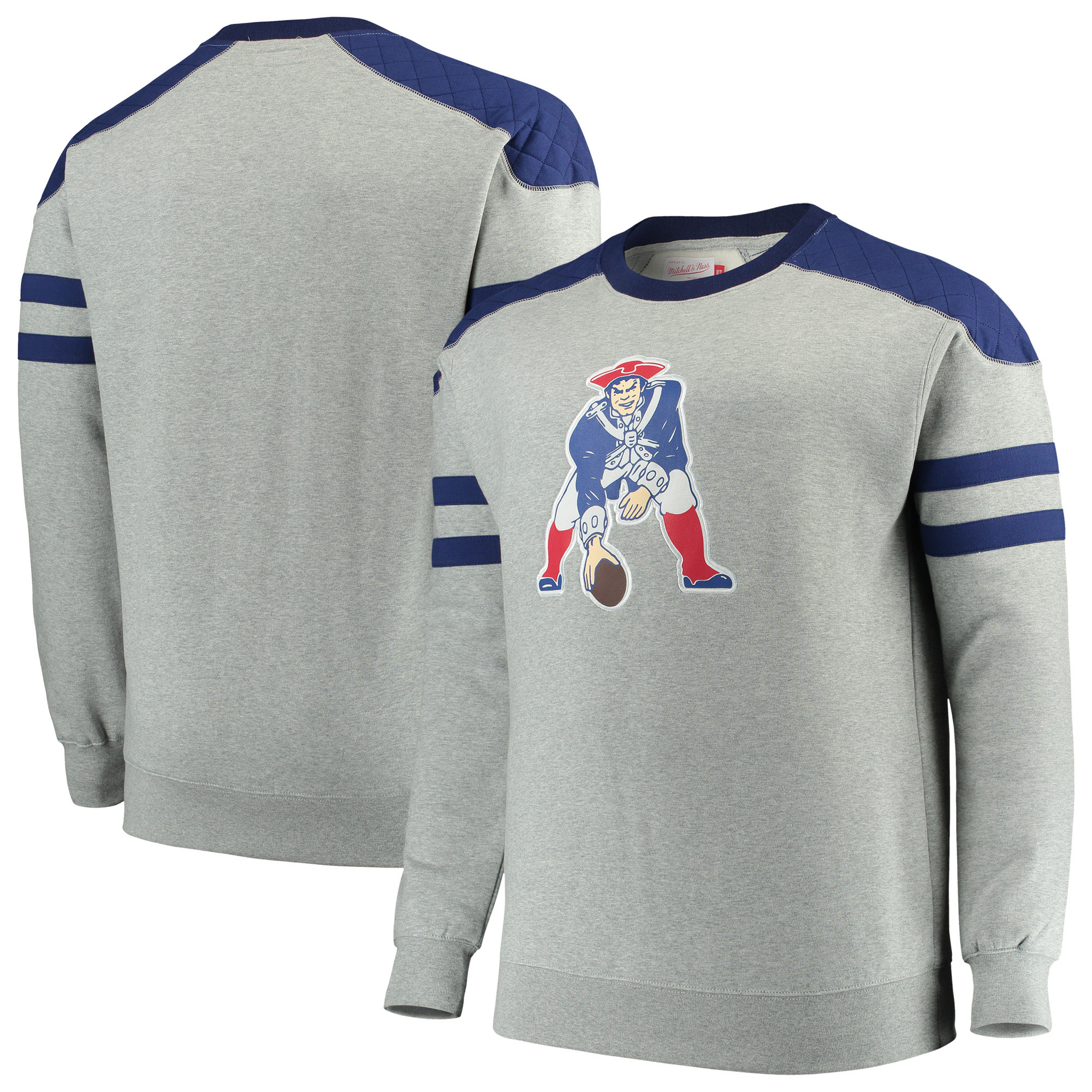 Mens Navy New England Patriots Cut And Sew Crew Neck Sweatshirt