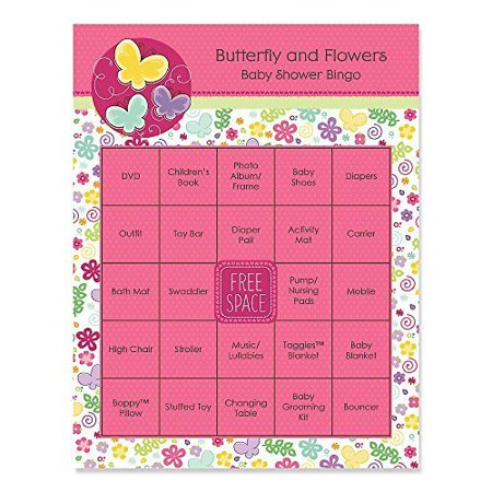 Playful Butterfly and Flowers - Baby Shower Game Bingo Cards - 16 Count (Baby Shower Bingo Cards)