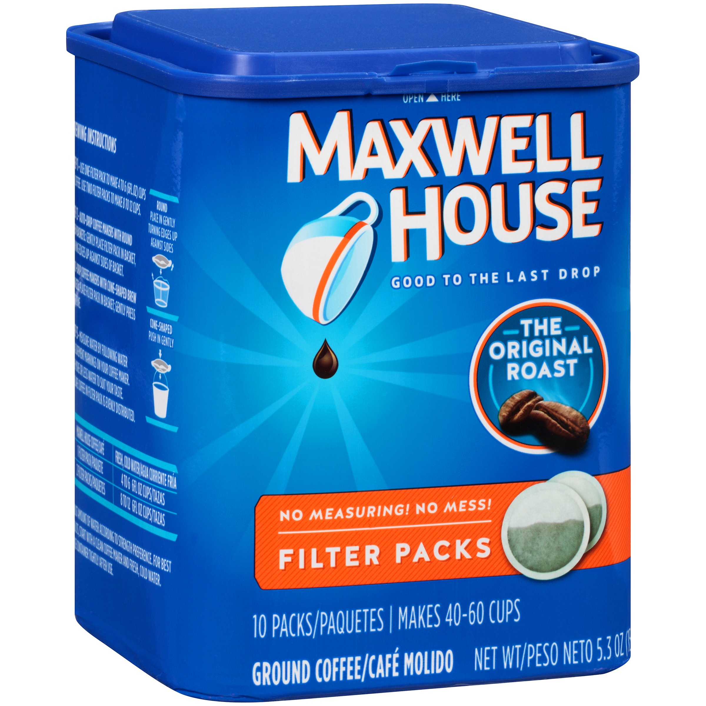 Click here to buy Maxwell House Original Roast Ground Coffee Filter Packs 10 ct Canister by Kraft Foods Group, Inc..