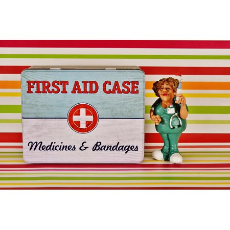 Peel-n-Stick Poster of First Aid Color Tin Can Nurse Figure Emergency Poster 24x16 Adhesive Sticker Poster Print