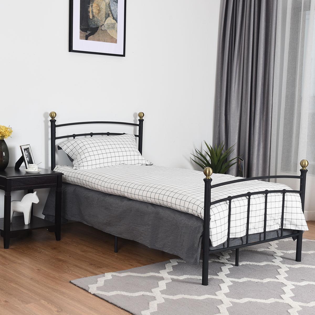 "Costway 12"" Twin Size Metal Bed Frame Platform Metal Slat Support Headboard Footboard"