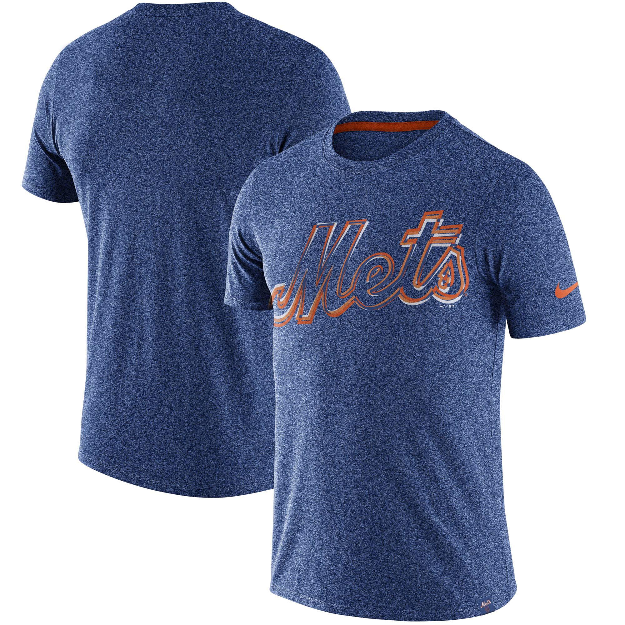 New York Mets Nike Marled Wordmark T-Shirt - Heathered Royal