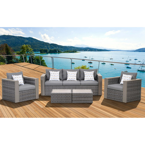 Mustang Outdoor All-Weather Wicker 5-Piece Patio Conversation Set, Grey