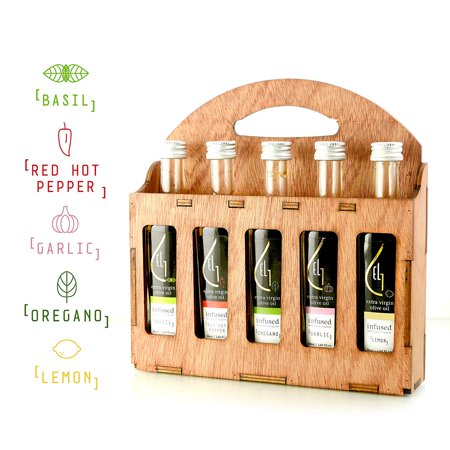 - Pellas Nature | Fresh Organic Infused Olive Oil | Red Hot Pepper | Basil | Garlic | Oregano | Lemon | Wooden Gift Set | Single Origin Greek EVOO | 5 X 1.7oz (5x50ml)