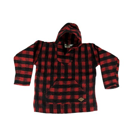 - Earth Ragz - Red and Black Baja Check Brushed Pull-Over Hoodie Mens - Red - Size Small