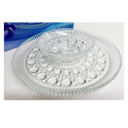 Indiana Glass Presentations Crystal Glass 2 Piece Chip 'N' Dip -