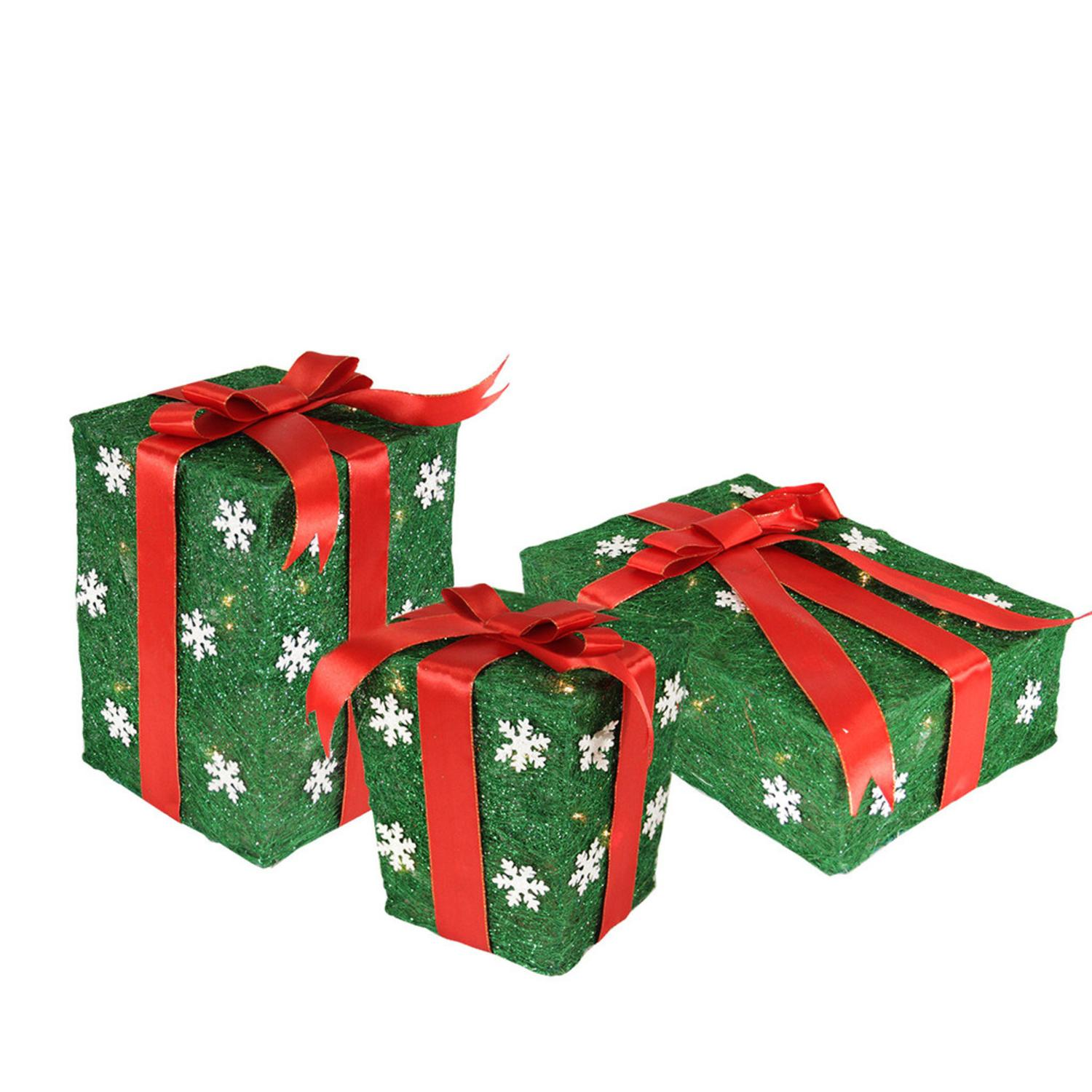 Set of 3 Green Snowflake Sisal Gift Boxes Lighted Christmas Outdoor Decorations