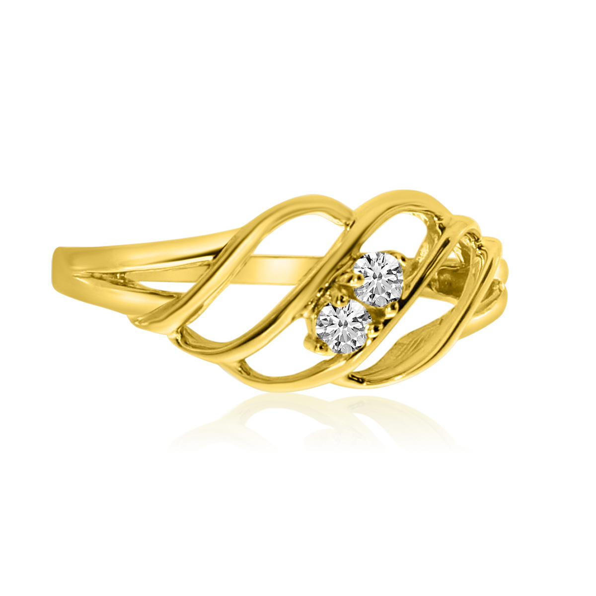 14K Yellow Gold Woven Two-Stone Diamond Ring by