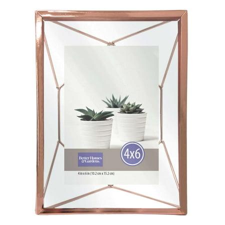 better homes gardens 4 x6 geometric metal rose gold picture frame. Black Bedroom Furniture Sets. Home Design Ideas