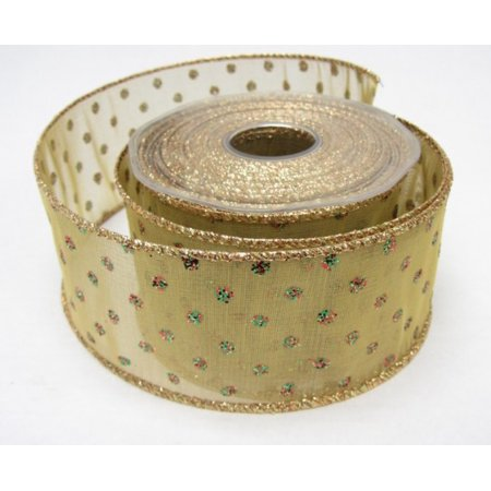 (Ribbon Bazaar Wired Sheer Metallic Dots 2-1/2 inch Gold 10 yards Ribbon)