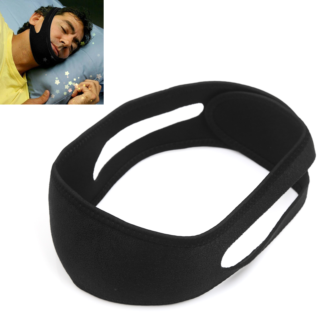Unique Bargains Black Stop Snore Belt Anti Snoring Strap ...
