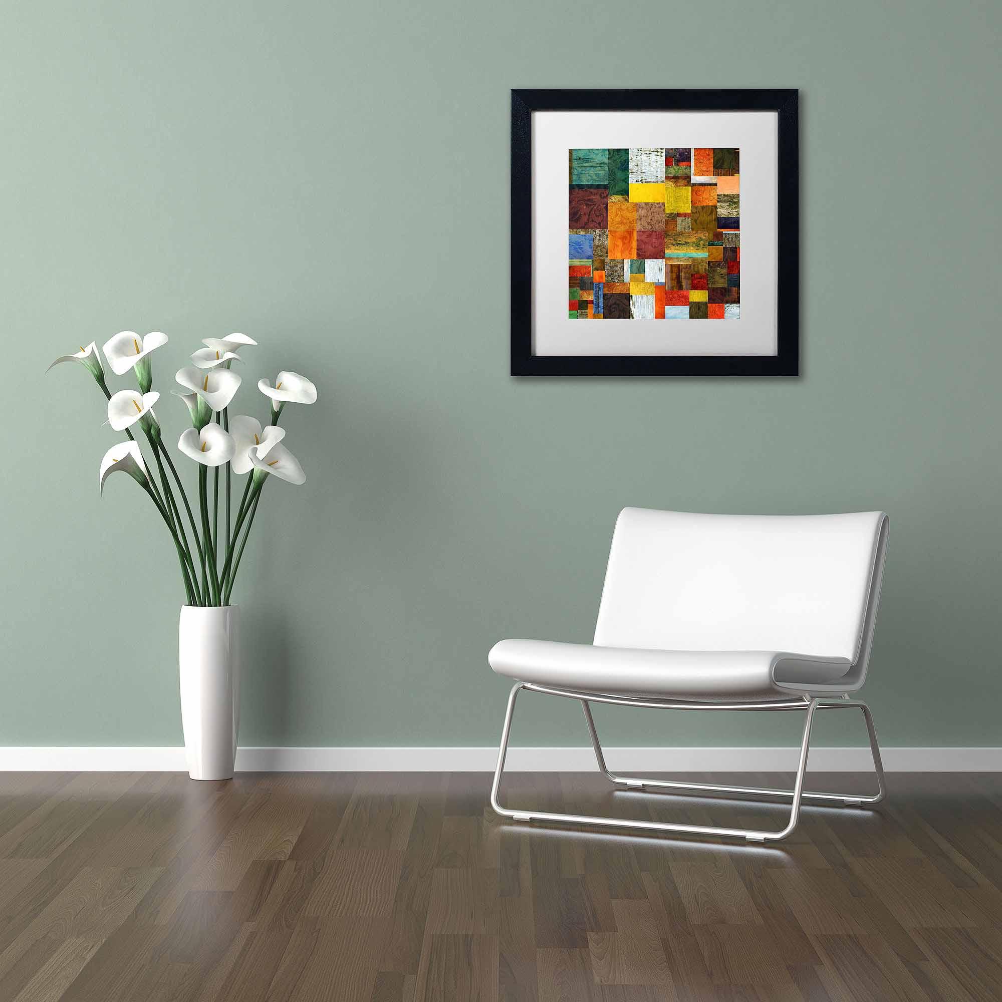 "Trademark Fine Art ""Brocade Color Collage 1"" Canvas Art by Michelle Calkins, White Matte, Black Frame"