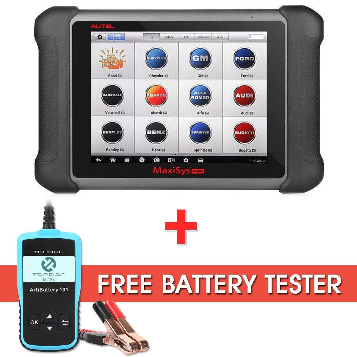 Autel Maxisys MS906 Diagnostic Scanner with OE-level Vehicle Coverage for Reading Erasing Codes, Actuation Tests, Adaptations with Free Battery Tester