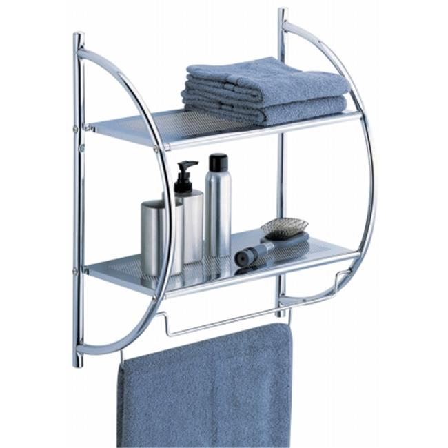 Organize It All 1753W-B Chrome Two-Tier Shelf With Towel Bars