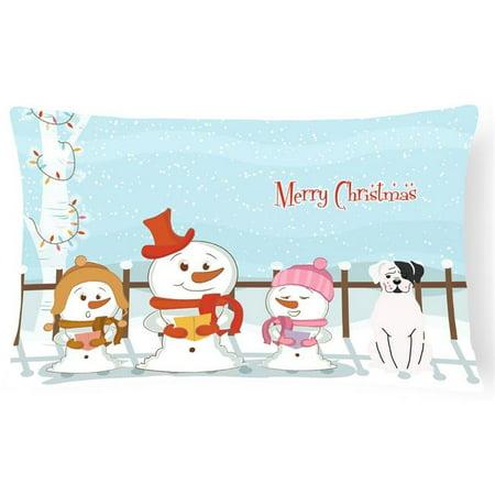 Carolines Treasures BB2445PW1216 Merry Christmas Carolers White Boxer Cooper Canvas Fabric Decorative Pillow - image 1 de 1