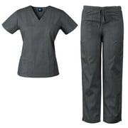 Womens V-Neck Top and Drawstring Pant Medical Scrub Set, Style 7891