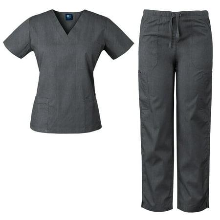 Womens V-Neck Top and Drawstring Pant Medical Scrub Set, Style 7891 ()