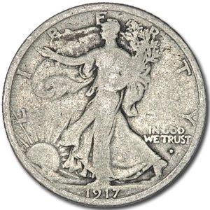 1917-D Obverse Walking Liberty Half Dollar VG 1917 Walking Liberty