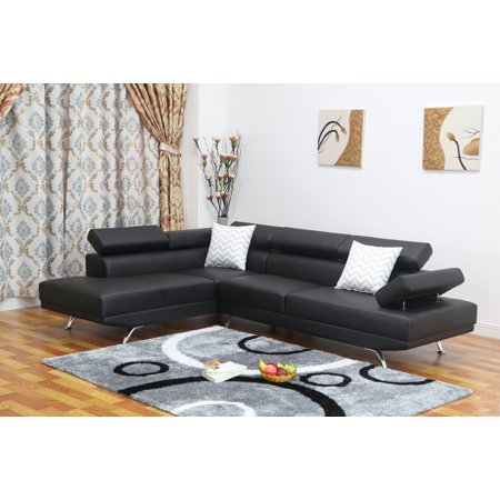 Sofia 2 pc black faux leather modern living room left for Leather sectional sofa with left facing chaise