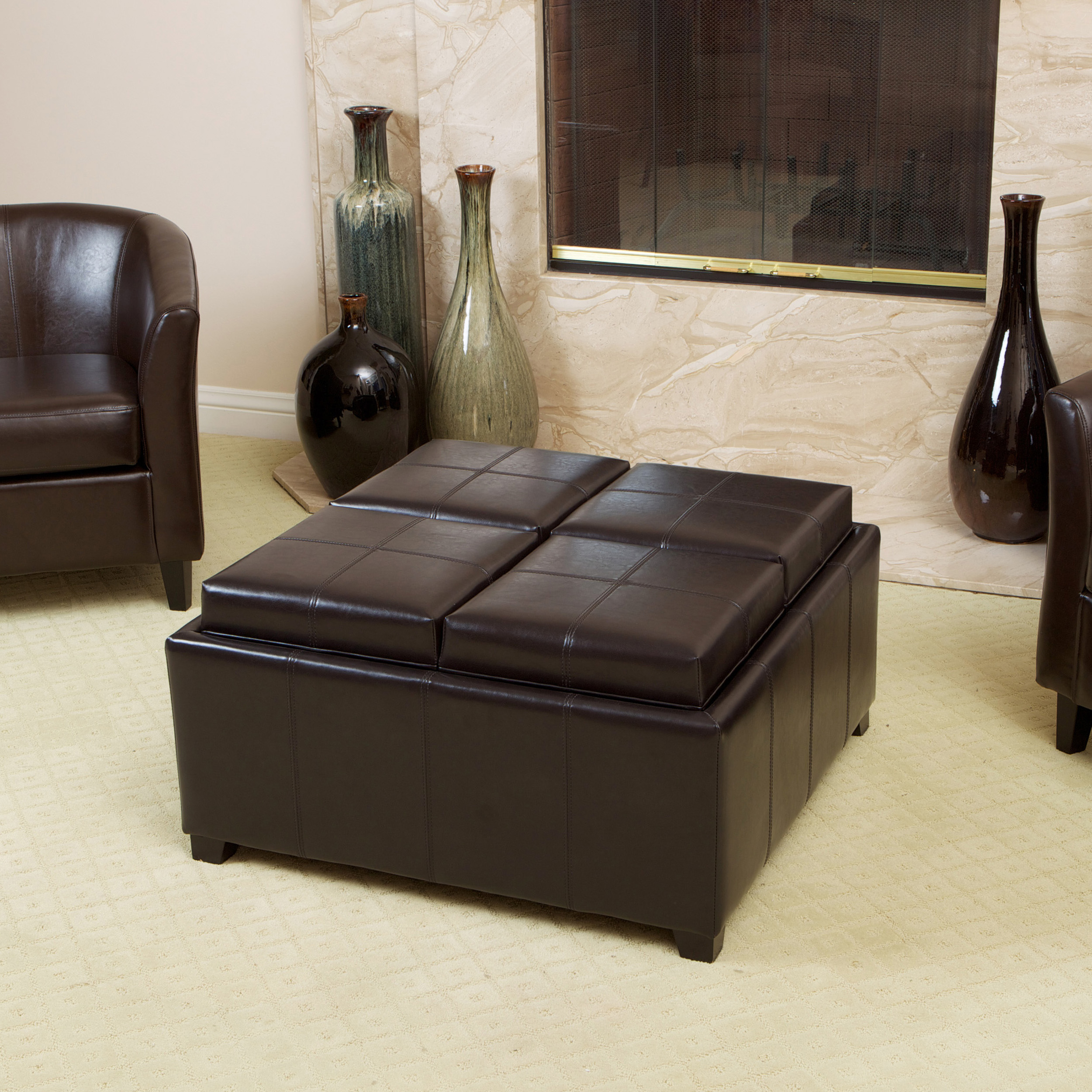 Sensational Birmingham Bonded Leather Espresso Tray Top Storage Ottoman Gmtry Best Dining Table And Chair Ideas Images Gmtryco