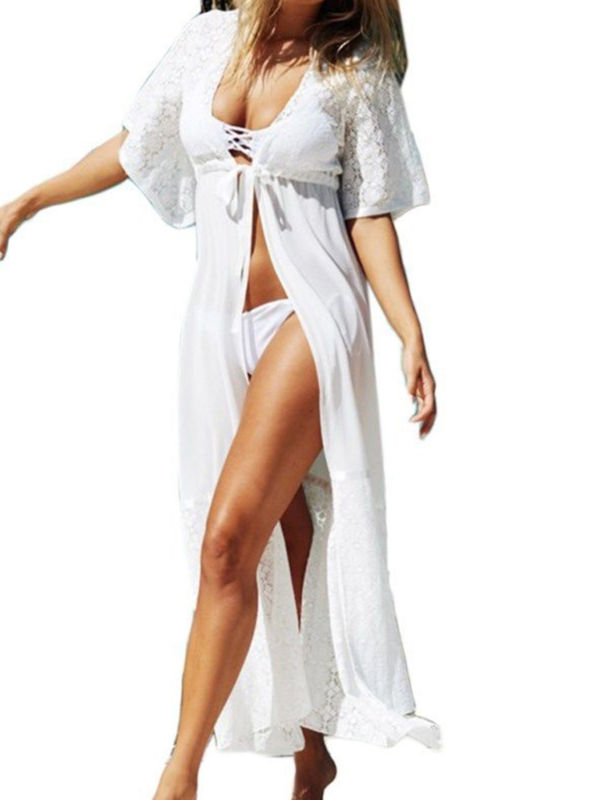 Chiffon Women Beach Bikini Long Cover Up Ladies Lace Kimono Cardigan Blouses