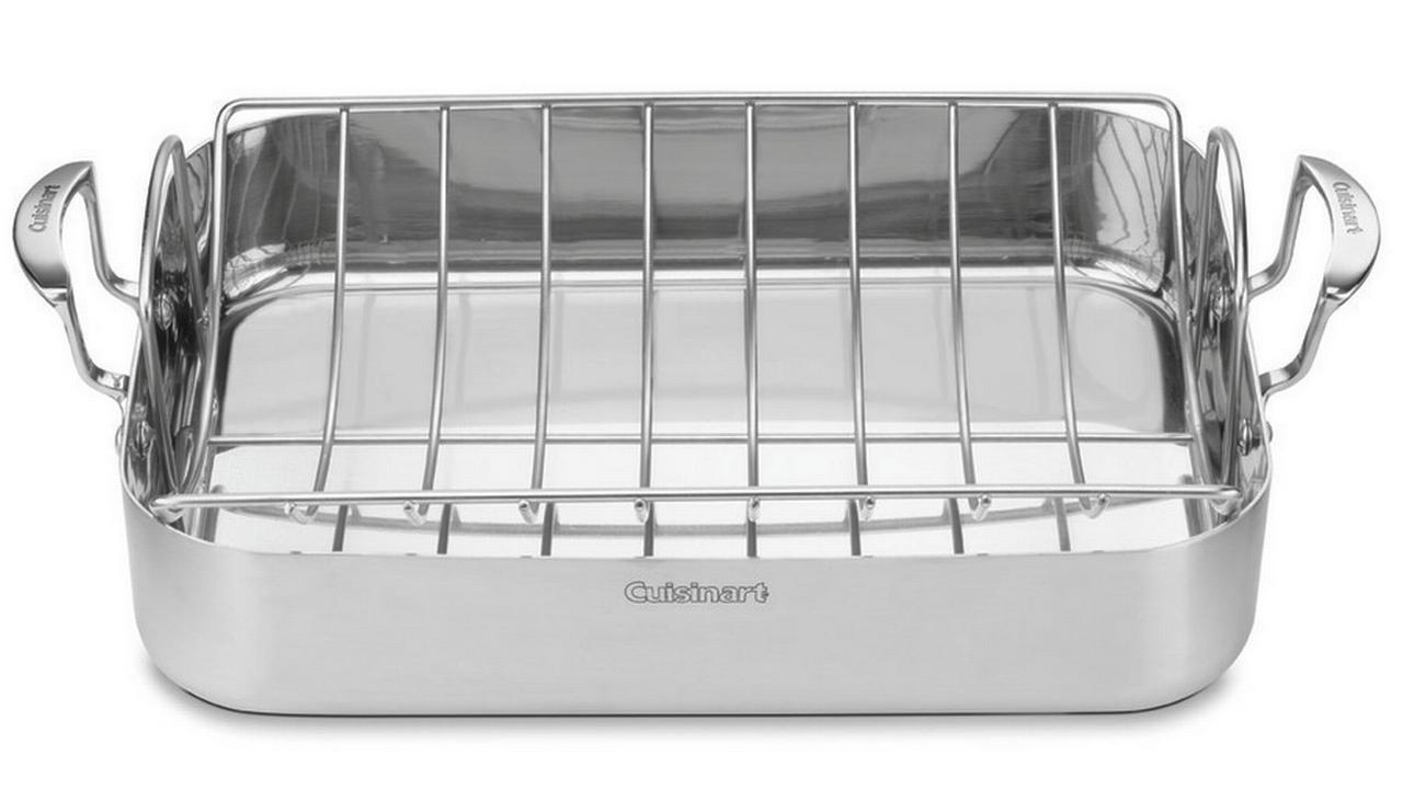"""Cuisinart 16"""" Roasting Pan With Rack, Multiclad Stainless by Conair"""