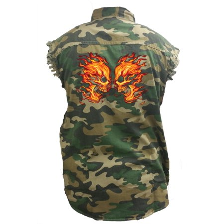 Skull Sleeveless Denim (Men's Camo Sleeveless Denim Shirt Flaming Skulls Head To Head Denim)