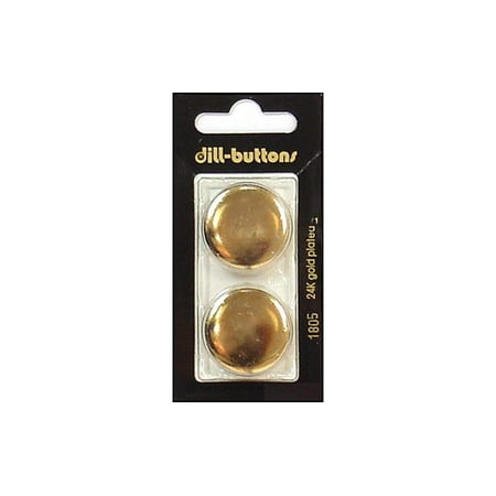 Collectible Metal Buttons - Dill Buttons 25mm 2pc Shank Gold Metal