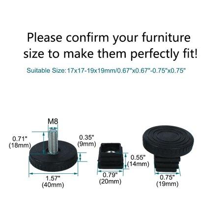 Adjustable Leveling Feet 20 x 20mm Tube Inserts Furniture Table Glide 2 Sets - image 2 de 8