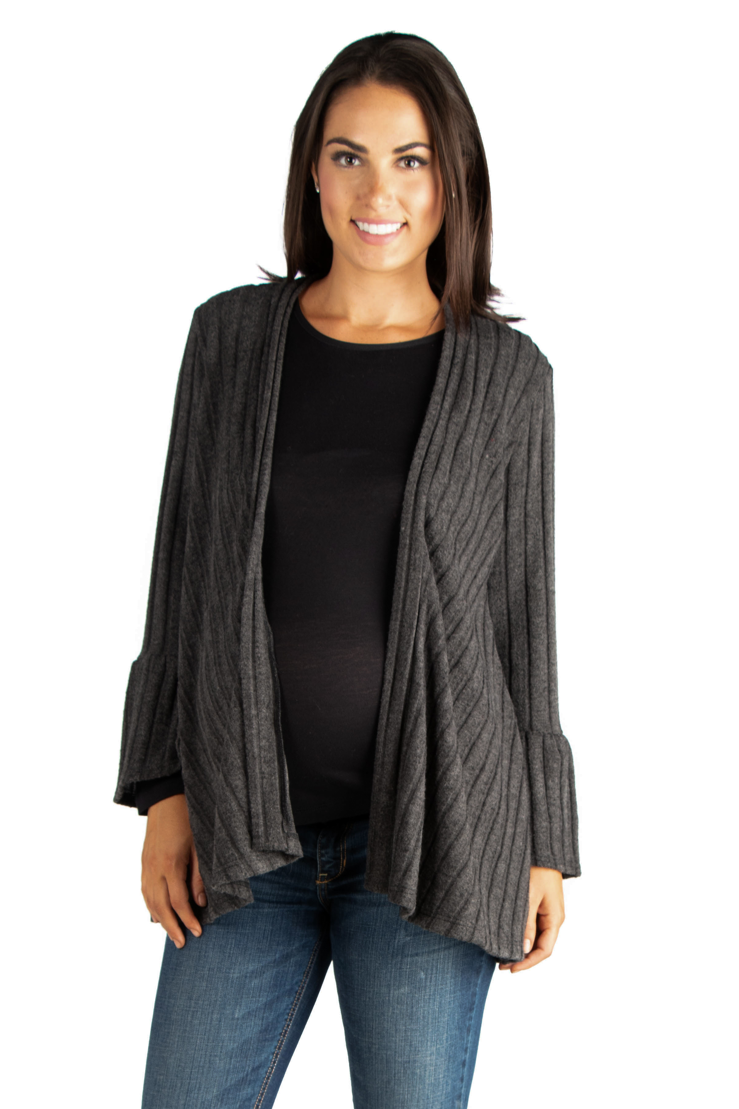 24seven Comfort Apparel Ribbed Bell Sleeve Transitional Maternity Cardigan