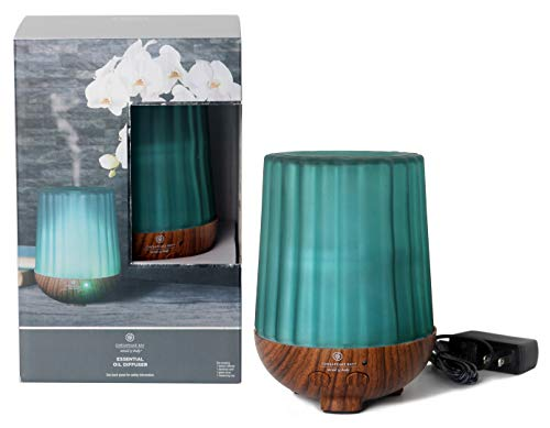 Chesapeake Bay Candle Aromatherapy Essential Oil Diffuser with Waterless Auto Shut-Off Soft White Light, Cover, 250ml, Green Ribbed Frosted Glass