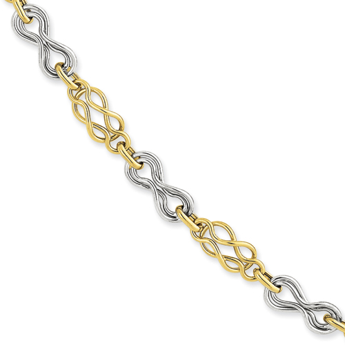 14k Two Tone Yellow Gold Infinity Bracelet 7.25 Inch Fancy Fine Jewelry Gifts For Women For Her - image 4 of 4