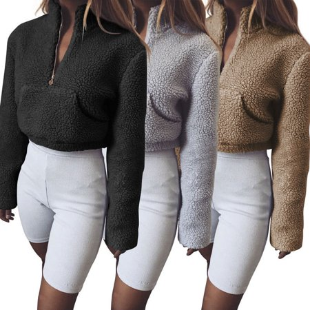 Women Winter Autumn Long SLeeve Fluffy Crop Turtleneck Pullover Knitted Sweater Jumper Knitwear Top