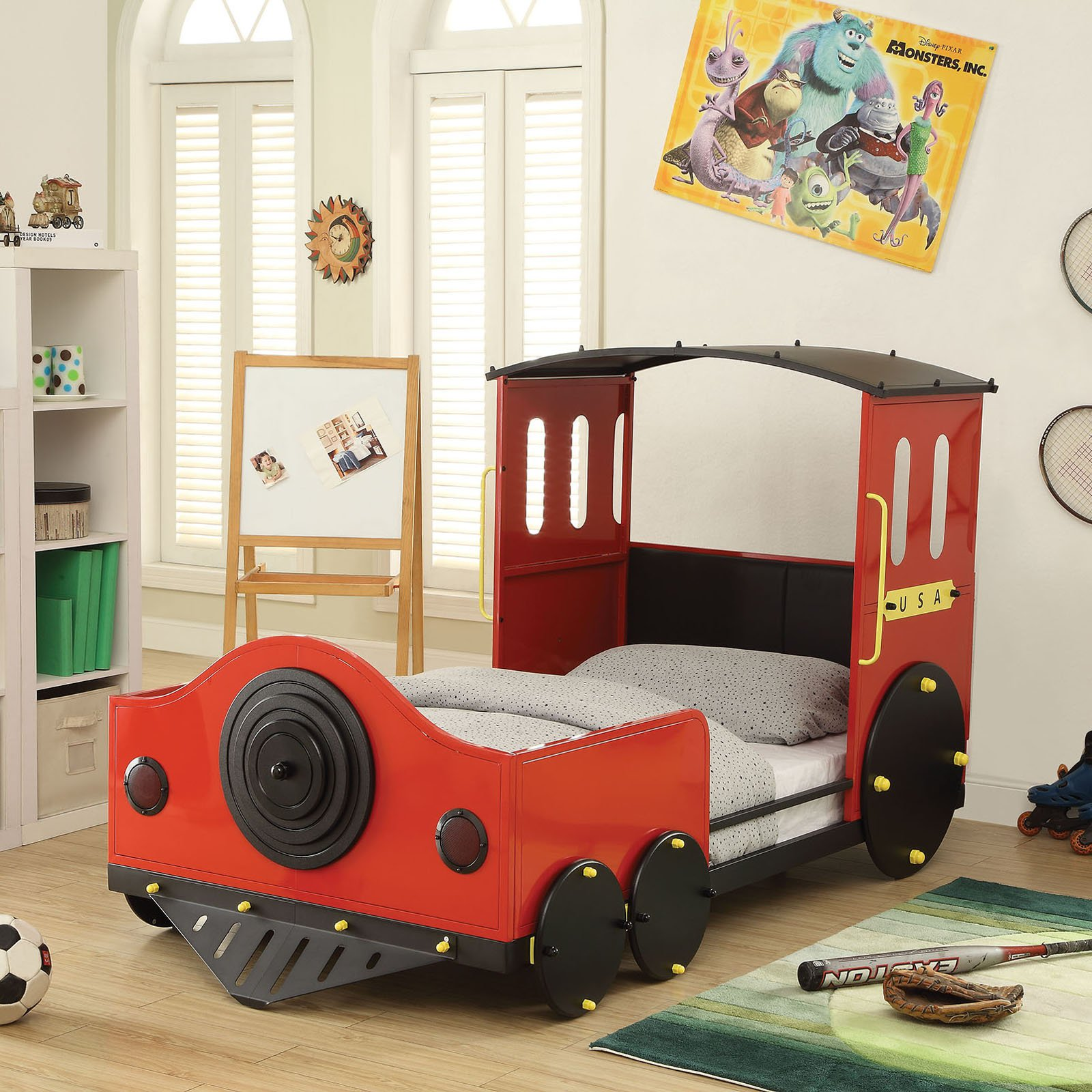Acme Tobi Twin Bed, Red & Black Train