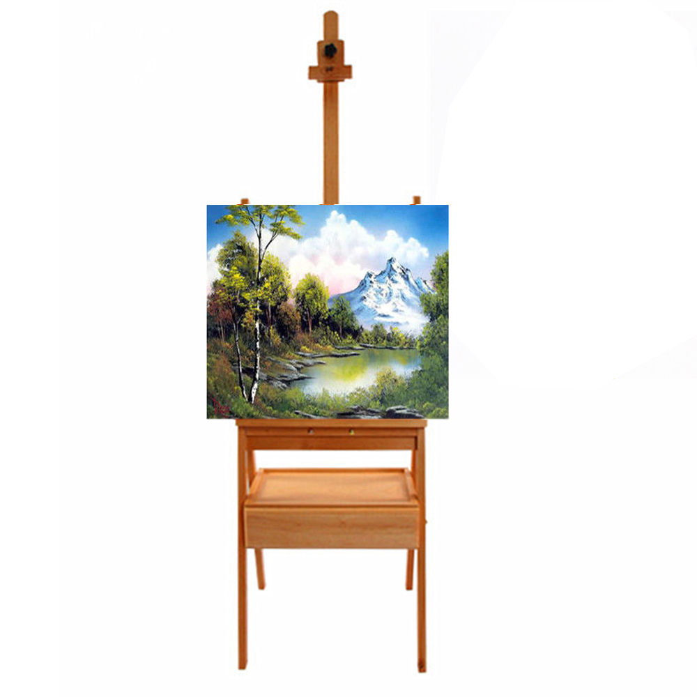 """Zimtown 5' Tripod Easel Stand with Drawer, Portable French Style Beech Wooden 59""""x17""""x14"""" Floor Easel Stand, for Art Display & Drawing"""