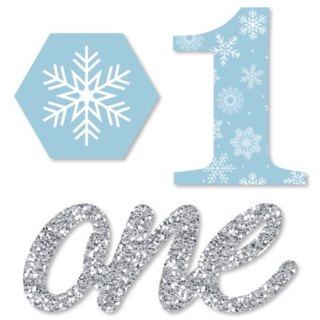 Winter Onederland Birthday Party Supplies (ONEderland - Shaped Holiday Snowflake Winter Wonderland Birthday Party Cut-Outs - 24)