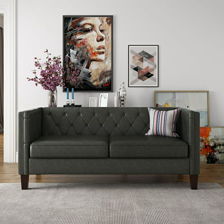 Better Homes & Gardens Brampton Modern Chesterfield Sofa, Dark Gray ()