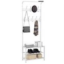Easyfashion Metal Multipurpose Entryway Hall Tree with 3-Tier Shoe Rack