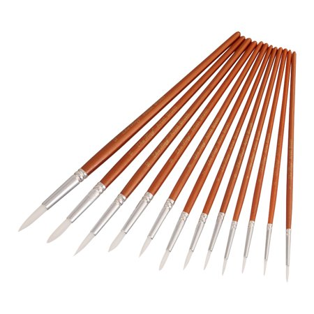 Professional 12pcs Round Pointed Tips Paint Brushes Set Tool Fine Paintbrush with Nylon Hair Wooden Handle Art Drawing Supplies for Artists Students beginners Watercolor Oil Acrylic Painting Nylon Tip Round Brush