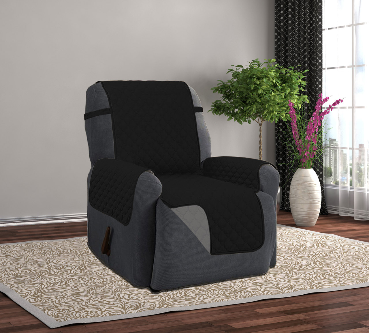 Linen Store Quilted Reversible Microfiber Pet Dog Couch Furniture Protector Recliner Cover (Black / Gray & Pet Furniture Covers islam-shia.org