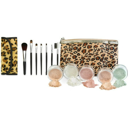 (LEOPARD KIT w/ BRUSH BAG SET Mineral Makeup Bare Face Sheer Powder Matte Foundation Cover by Sweet Face Minerals (Pink Bisque))