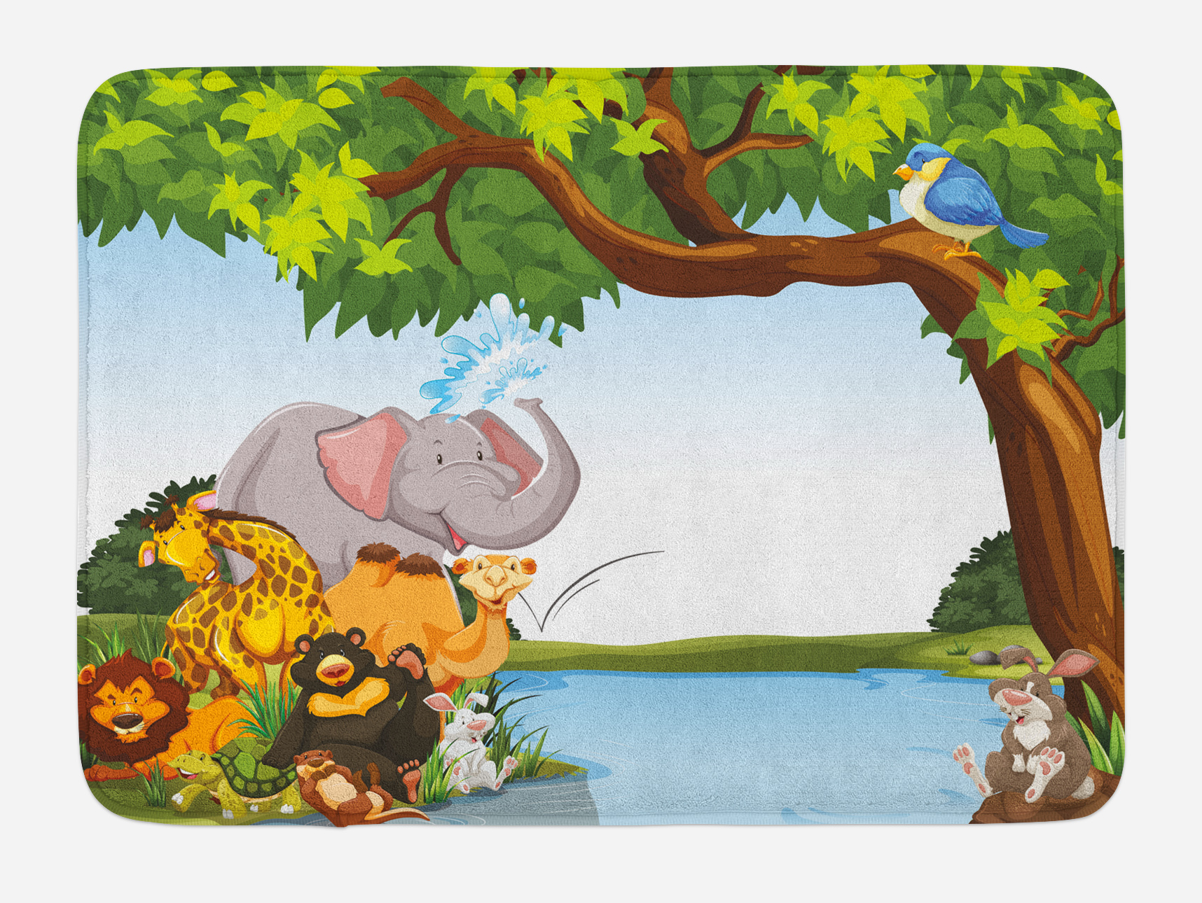Kids Bath Mat, Various Cartoon Style Animals Together by River Bank Tree Bird Cute Funny... by 3decor llc