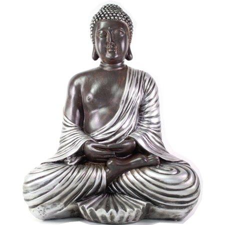 Feng Shui 17'' Large Silver Kasaya Buddha Dhyani Mudra Home Decor Peace Statue ()