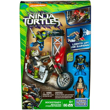 Mega Bloks Teenage Mutant Ninja Turtles Out of the Shadows Rocksteady Moto Attack Playset